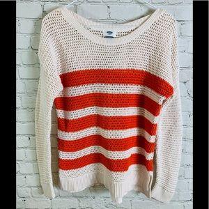 Old Navy Orange Stripe Loose Knit Sweater Sz Lg
